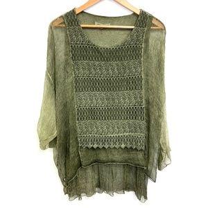 Tempo Paris   Silk Green Over lay Crochet Top